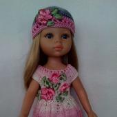 Платье и шапочка для куклы Паола Рейна.