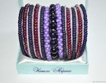 """Мемори-браслет """"Фиолетовые грезы"""" ручной работы на заказ"""