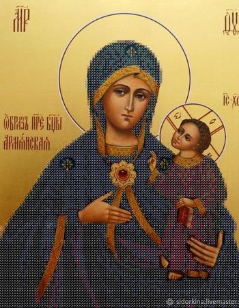 Образ Пресвятой Богородицы Армянская Схема бисером ручной работы на заказ