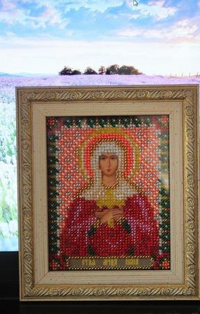 Святая Юлия. Икона вышитая бисером. ручной работы на заказ