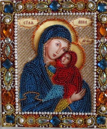 Икона бисером Святая Анна ручной работы на заказ