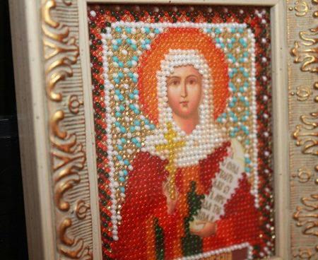 Икона бисером Святая Наталья ручной работы на заказ