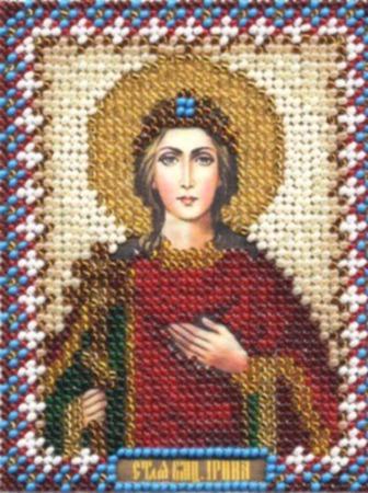 Икона бисером Святая Ирина ручной работы на заказ