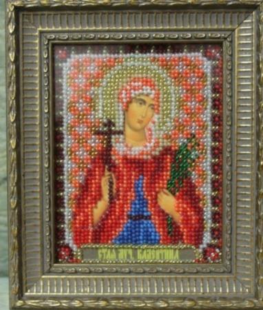 Икона бисером Валентина ручной работы на заказ