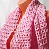 """Розовый вязаный крючком шерстяной палантин ручной работы """"Розовая жемчужина"""" модель 3"""