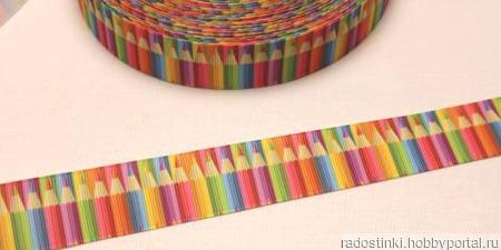 """Лента репсовая с рисунком """"Карандаши"""", ширина 25 мм ручной работы на заказ"""