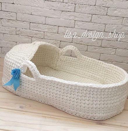Люлька-корзинка для малыша из трикотажной пряжи TUTY ручной работы на заказ