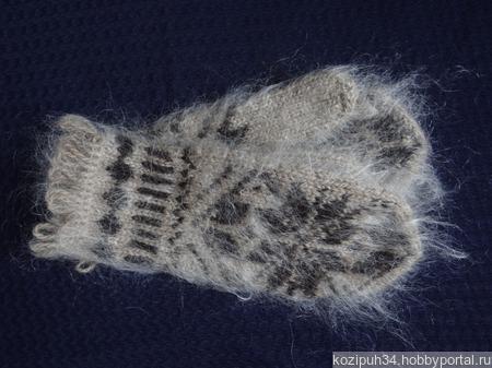 Варежки,рукавицы вязанные шерсть с пухом №7 ручной работы на заказ