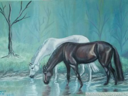 """Картина маслом """"На водопое в туманном лесу"""". ручной работы на заказ"""