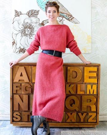 Длинное вязаное платье ручной вязки в Москве ручной работы на заказ