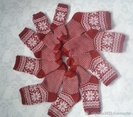 Носки Рождественские для всей семьи ручной работы на заказ