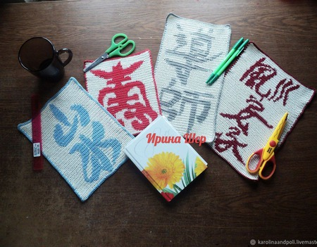 Набор салфеток с иероглифами крючком ручной работы на заказ