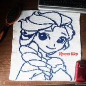 """Картина """"Принцесса Эльза"""" крючком."""