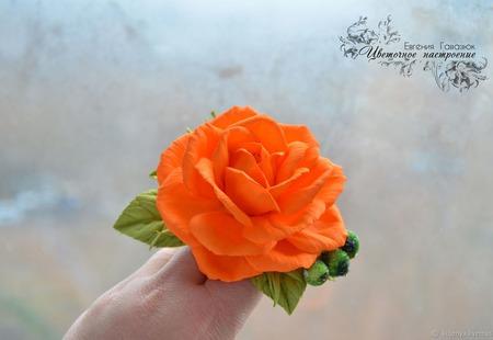 """Повязочка с розой """"Оранжевое настроение"""" ручной работы на заказ"""
