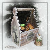 "Короб-корзина (фруктовница) ""Морозный вечер"". Декупаж"