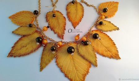 Комплект Осенние листья из термопластики. ручной работы на заказ