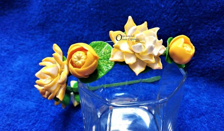 Ободок Русалка с Лотосами и кувшинками из полимерной глины. ручной работы на заказ
