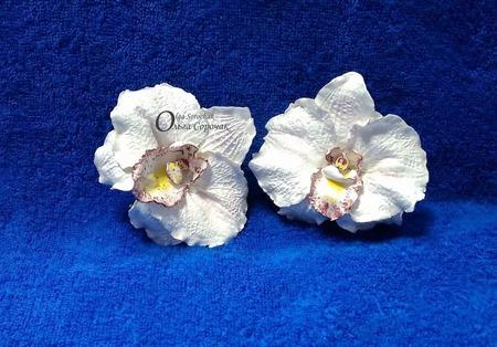 Зажим Орхидея из полимерной глины. ручной работы на заказ
