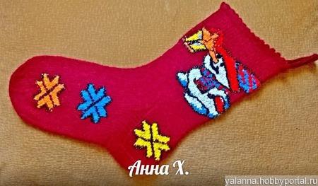 Декоративный носок Санты ручной работы на заказ