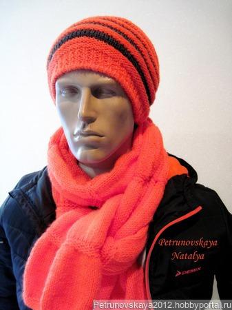 """Шапка-бини + шарф """"Sport new-1""""  (унисекс) ручной работы на заказ"""