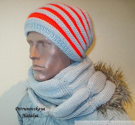 """Шапка-бини + шарф """"Sport new-2""""  (унисекс) ручной работы на заказ"""