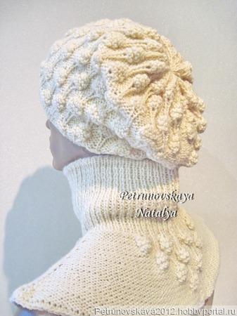 """Берет и манишка (шапка + шарф) """"Malinka"""" ручной работы на заказ"""