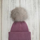 Взрослая вязаная шапка с двойным отворотом