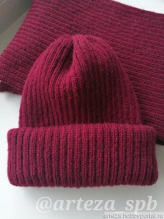 Взрослая вязаная шапка с двойным отворотом ручной работы на заказ