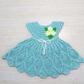 Детское платье Незабудка, вязаное крючком