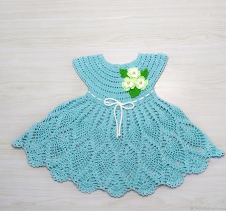 Детское платье Незабудка, вязаное крючком ручной работы на заказ