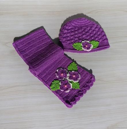 """Комплект шапка и шарф"""" Фиалка"""" ручной работы на заказ"""