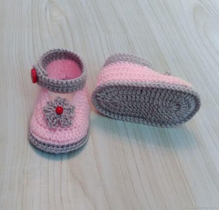 Пинетки туфельки для новорожденной ручной работы на заказ