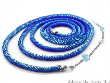 Лариат синий Полет голубой бабочки украшение из бисера ручной работы на заказ