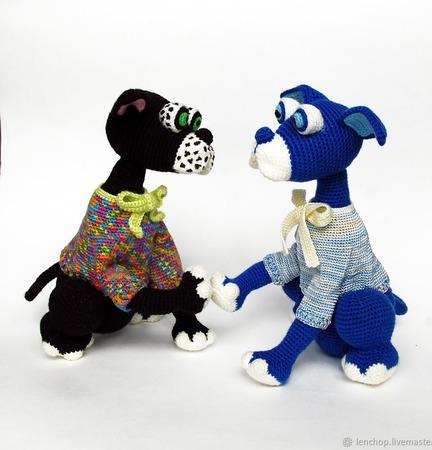 МК по вязанию крючком Пес Батлер и Пуделька Помпошка. Год собаки ручной работы на заказ