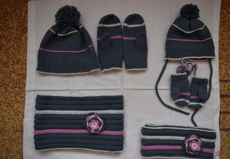 """Комплекты для мамы и дочки """"Теплая зима"""" ручной работы на заказ"""