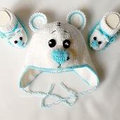 """Белый комплект для новорожденных """"Мишка Тедди"""""""
