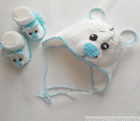 """Белый комплект для новорожденных """"Мишка Тедди"""" ручной работы на заказ"""