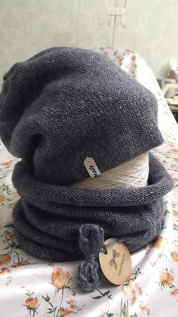 Зимняя, двойная шапка и снуд сине-серого цвета с  меланжевыми чёрными и серебряными крапушками ручной работы на заказ