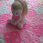 Розовый плед крючком