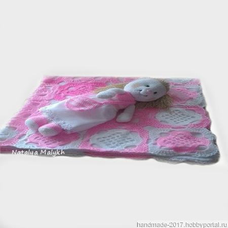 Розовый плед крючком ручной работы на заказ