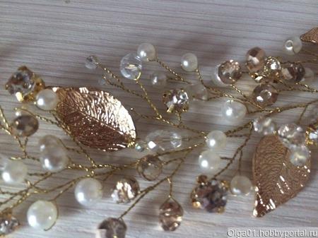 Украшение для причёски Веточка жемчужно-золотая ручной работы на заказ