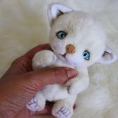 Белый котенок тедди
