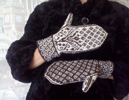 """Варежки вязаные женские  """"Морозный узор"""" шерстяные ручной работы на заказ"""