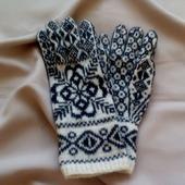 """Перчатки шерстяные вязаные на спицах """"Снежинка-1"""""""