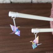 Шпильки-палочки с узорными журавликами-оригами (СКИДКА за пару)