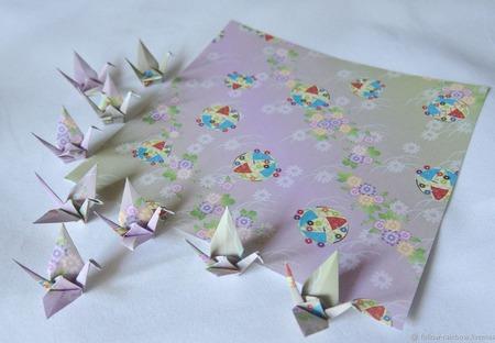 Шпильки-палочки с узорными журавликами-оригами (СКИДКА за пару) ручной работы на заказ