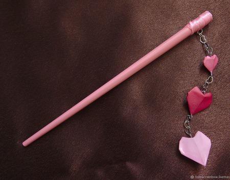 Шпильки-палочки с тремя сердечками-оригами, СКИДКА на пару ручной работы на заказ