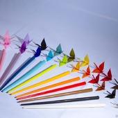 Шпильки-палочки с однотонными журавликами-оригами (СКИДКА ЗА ПАРУ)