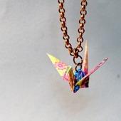 Кулон с журавликом-оригами (маленький)