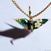 Эксклюзивные кулоны с журавликами-оригами (большие)